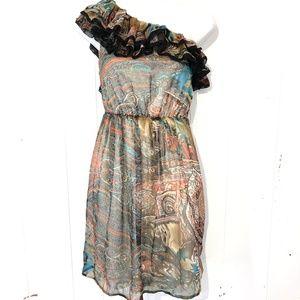 ARDEN B One Shoulder Ruffle Brown Paisley Dress  M